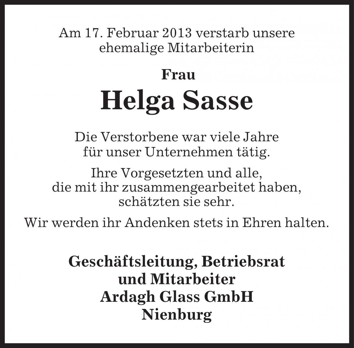 Helga Sasse